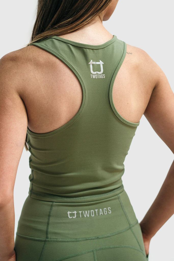 Twotags Ladies Classic Core Racerback Tank – Olive