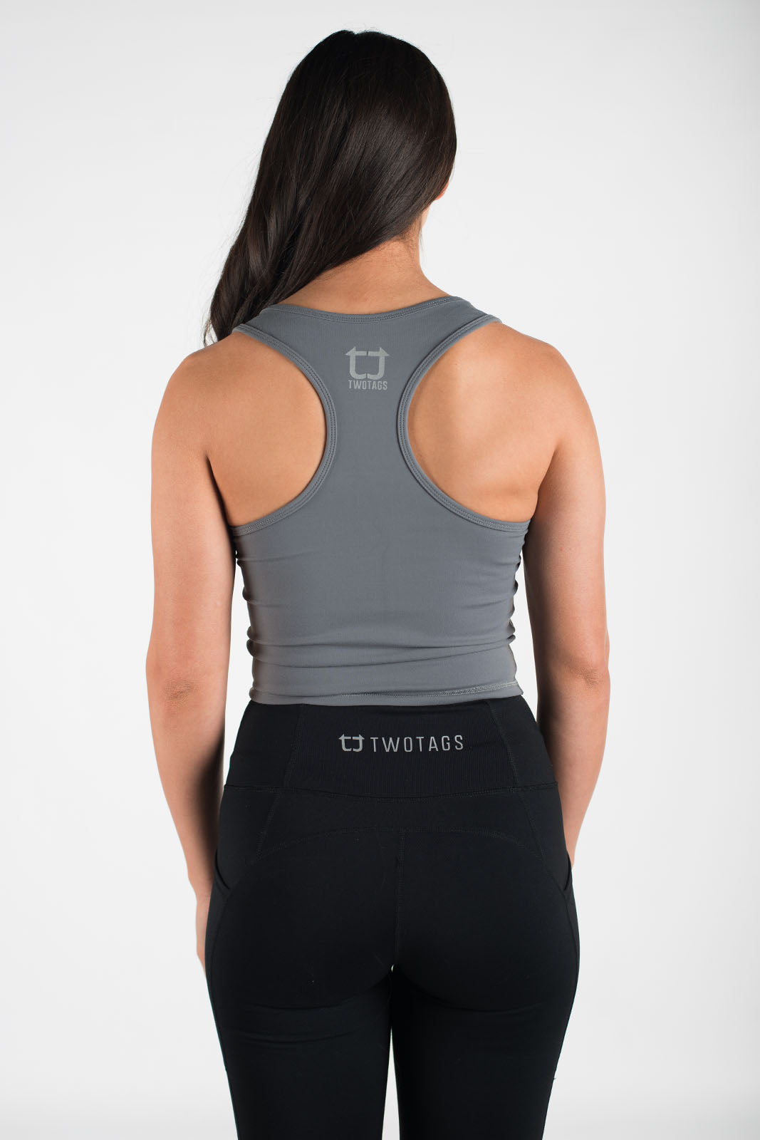 Twotags Ladies Classic Core Racerback Tank – Steel Grey