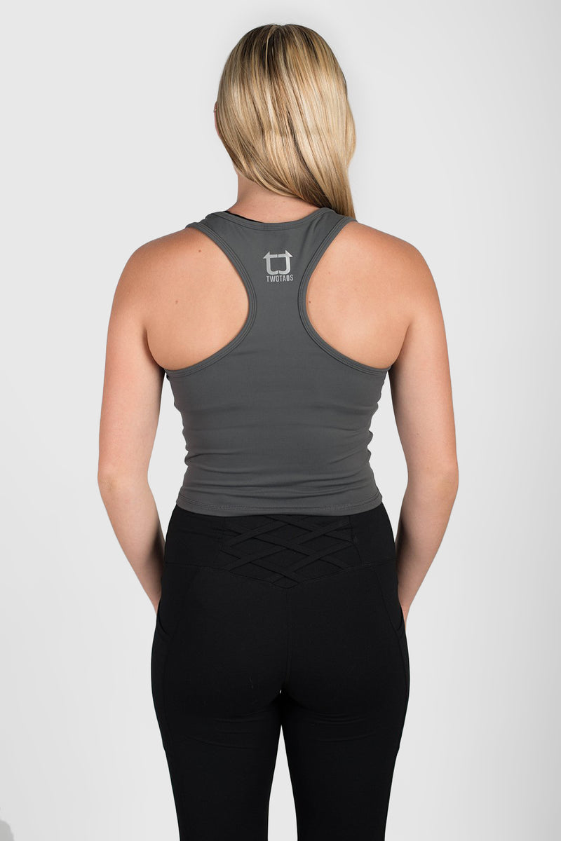 Twotags Ladies Classic Core Racerback Tank – Slate Grey