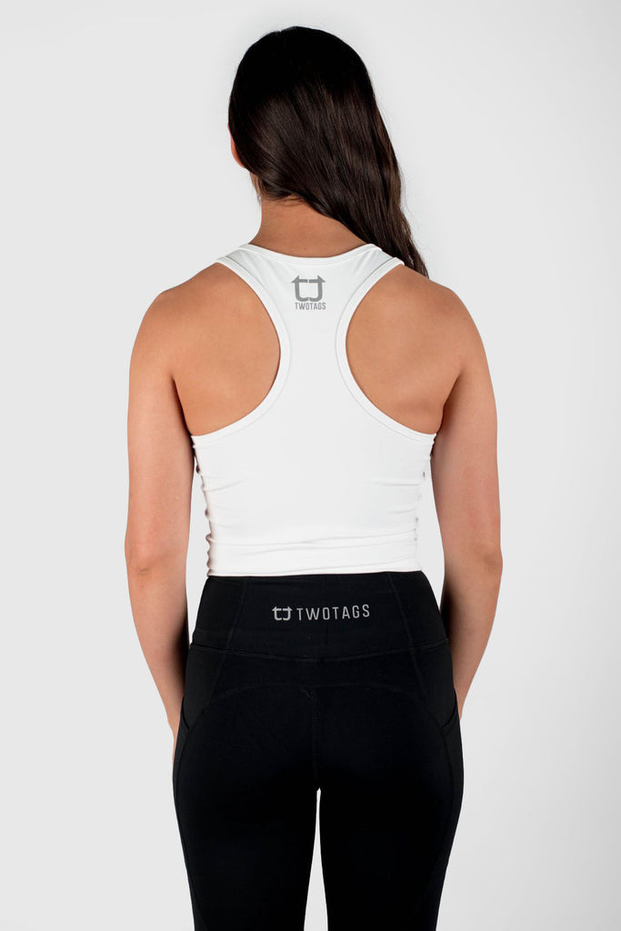 Twotags Ladies Classic Core Racerback Tank – White