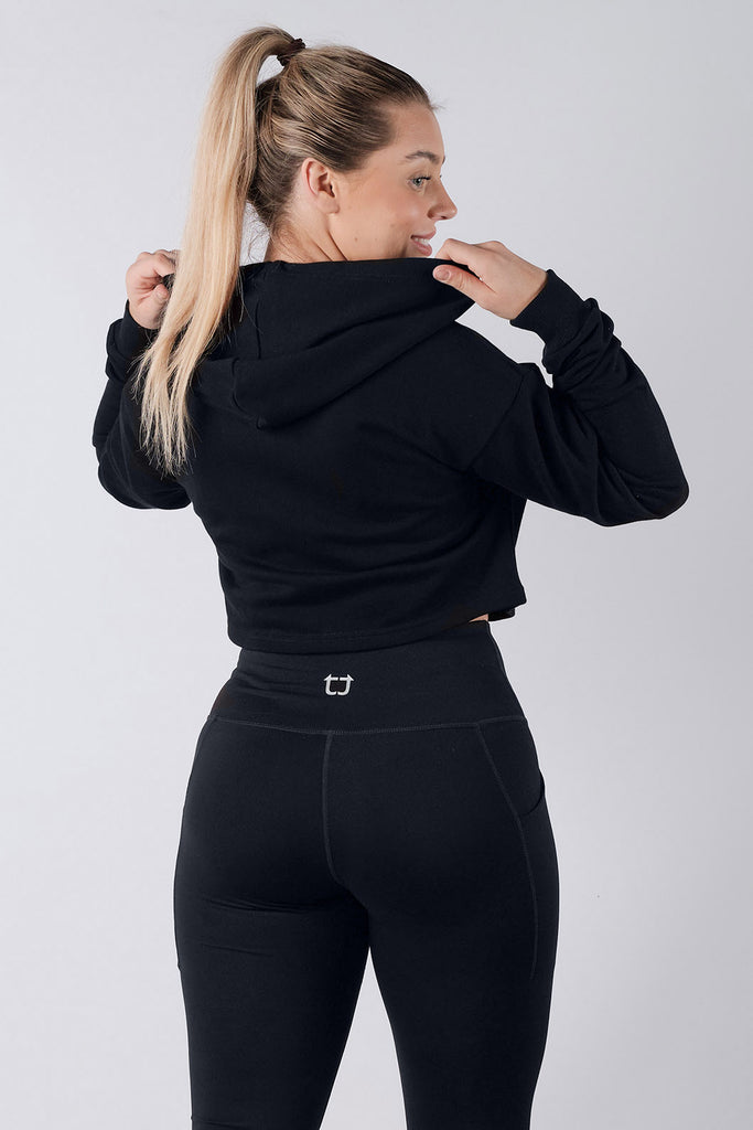 Essential Cropped Zipped Hoodie - Black