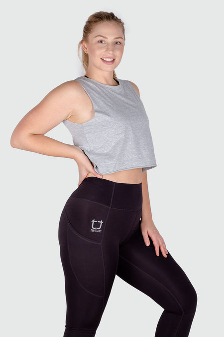 Twotags Ladies Highwaisted Strappy 3/4 Leggings – Charcoal Grey