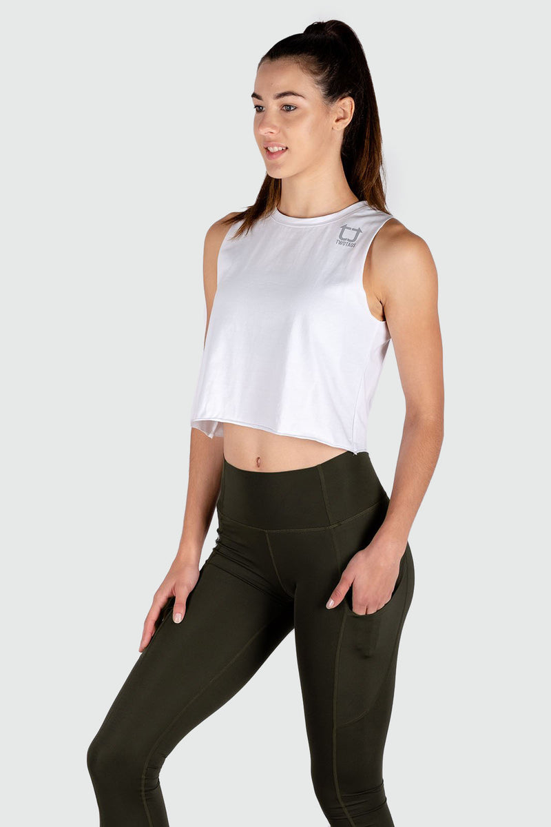 Muscle Cropped Tank - White