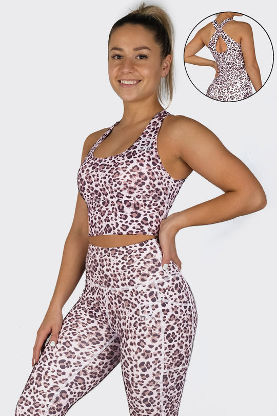 Leopard Supportive Racerback Top - Fawn Leopard
