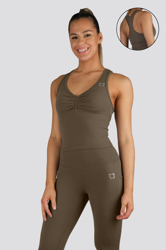 Soul Scrunch 2 in 1 Singlet - Khaki