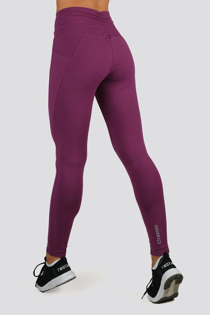 Ruffle Highwaisted Leggings - Aubergine