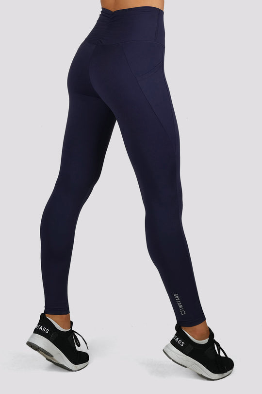 Ruffle Highwaisted Leggings - Navy