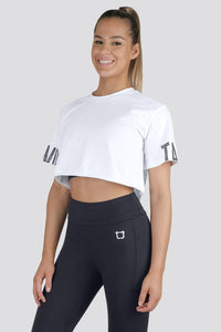 Grafik Oversized Cropped Tee  - White