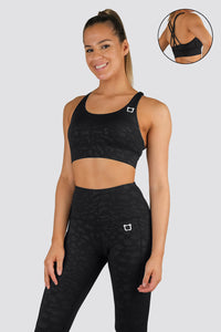 Knurling Leopard Sports Bras - Black