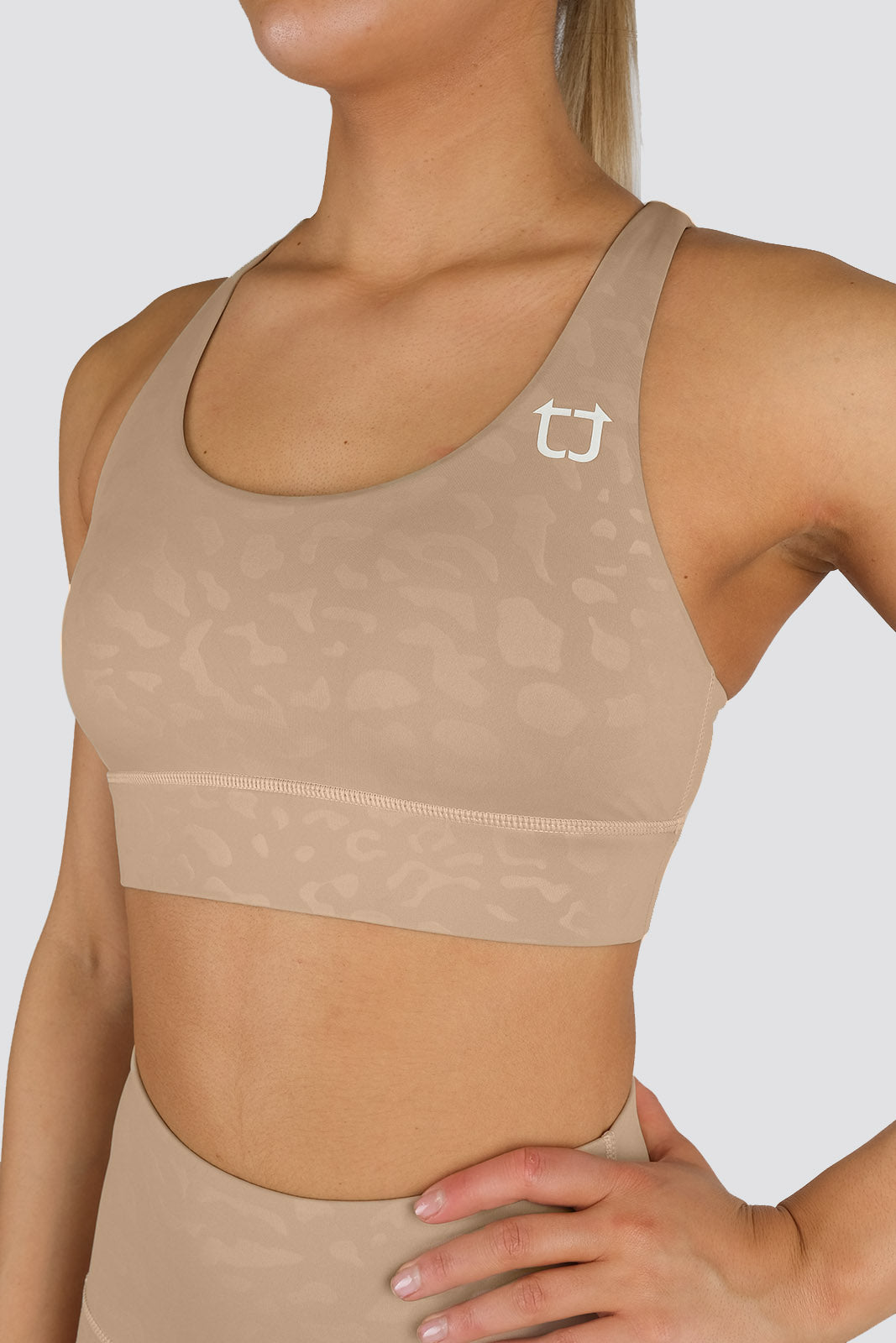 Knurling Leopard Sports Bras - Ivory
