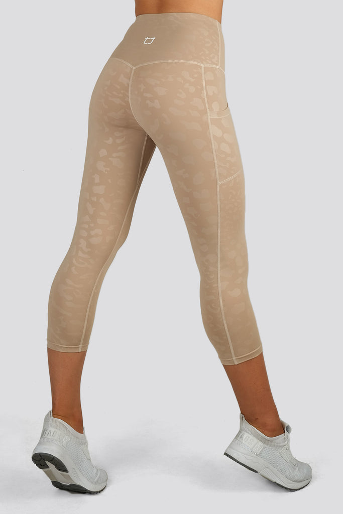 Knurling Leopard 7/8 Highwaisted Leggings - Ivory