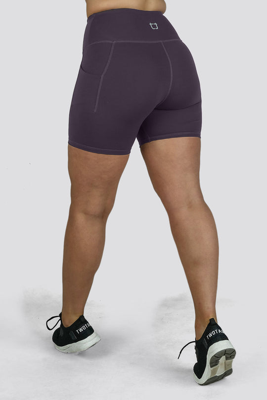 Essential Mid Biker Shorts - Plum