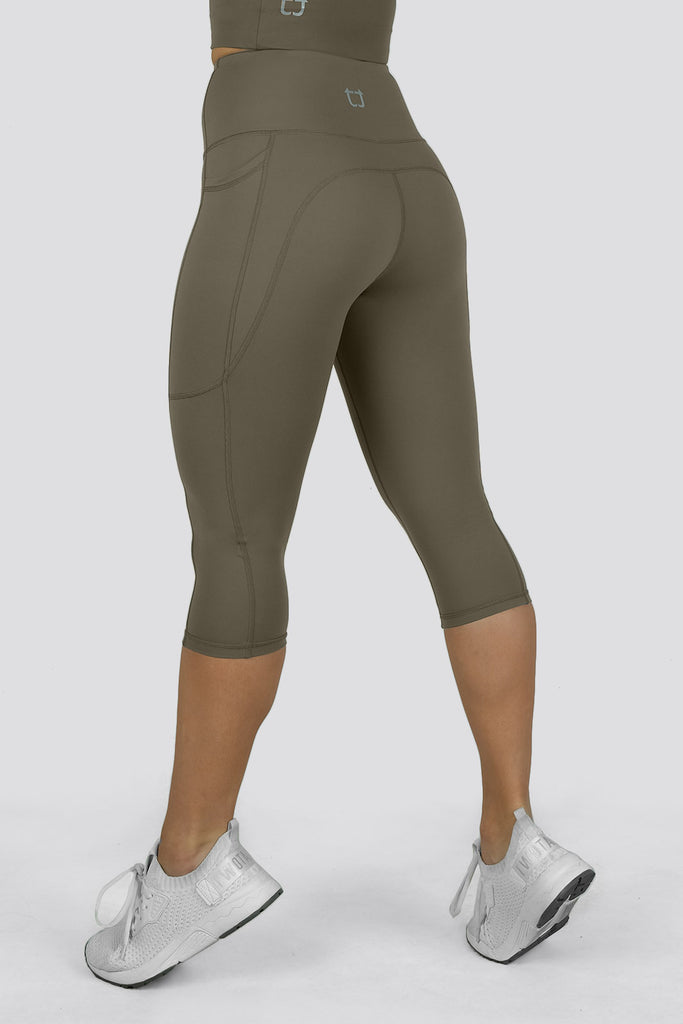 Ardor 3/4 Highwaisted Leggings - Hazel Khaki