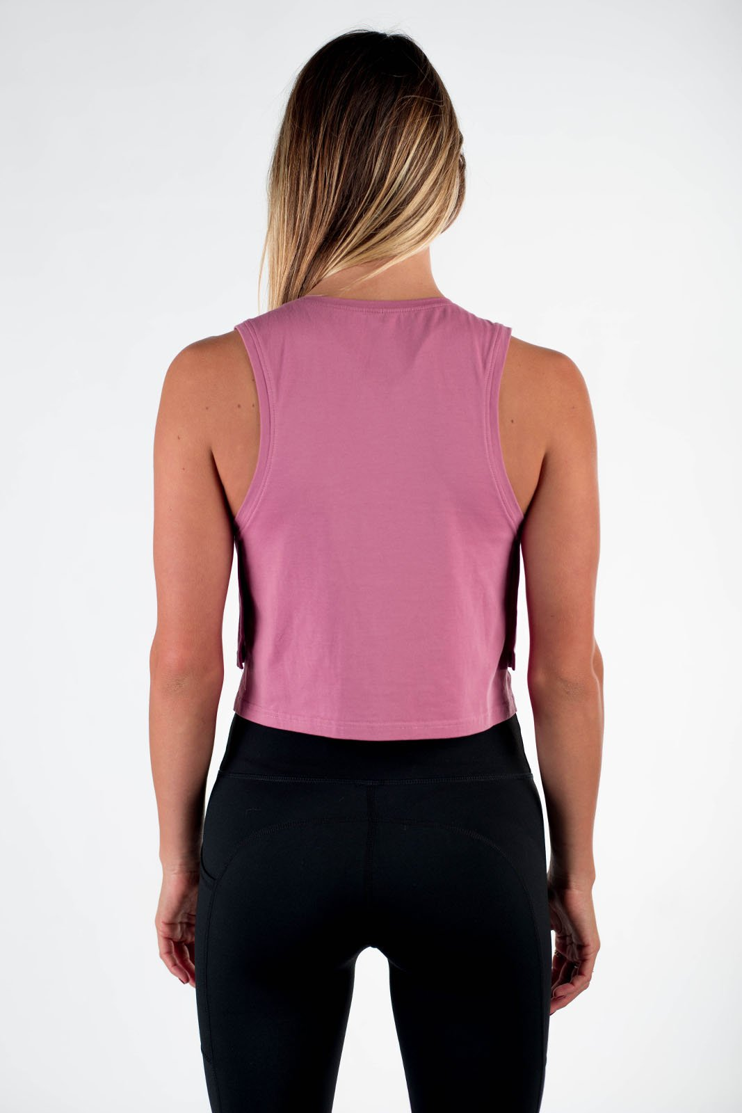 Twotags Ladies Eaze Cropped Tank –  Dusty Rose