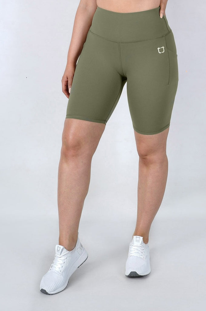 Essential Biker Shorts - Olive