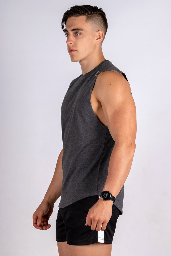 Twotags Intrepid Muscle Tank - Charcoal Grey