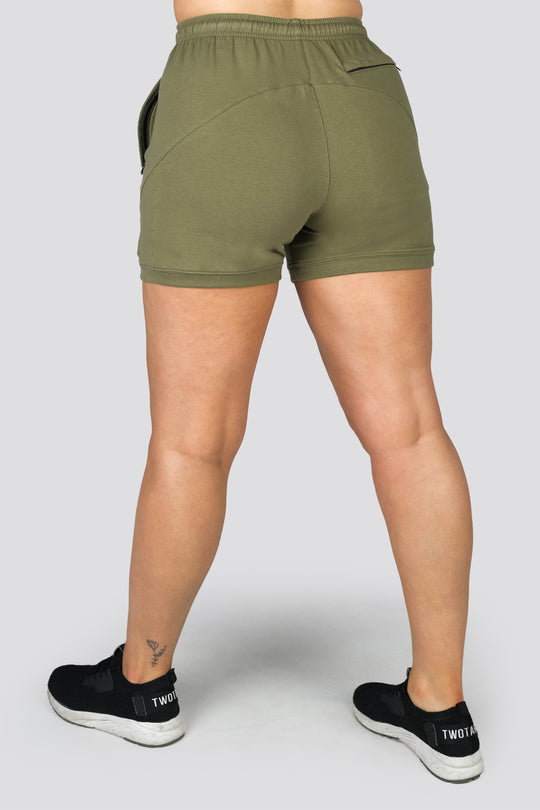 Ladies Hybrid V3 Shorts - Khaki