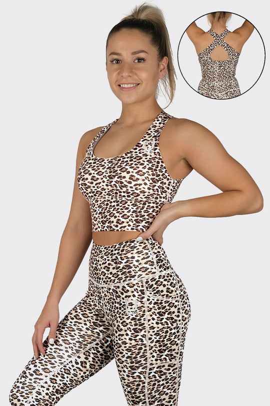 Leopard Supportive Racerback Top - Gold