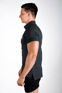 Twotags Motion Polo T-Shirt - Heather Black