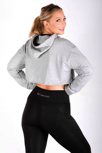 Pace Oversized Cropped Hoodie - Heather Grey