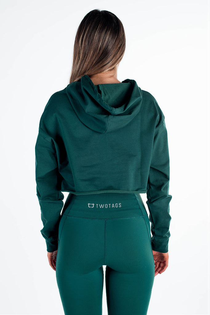 Twotags Ladies Pace Oversized Cropped Hoodie – Emerald