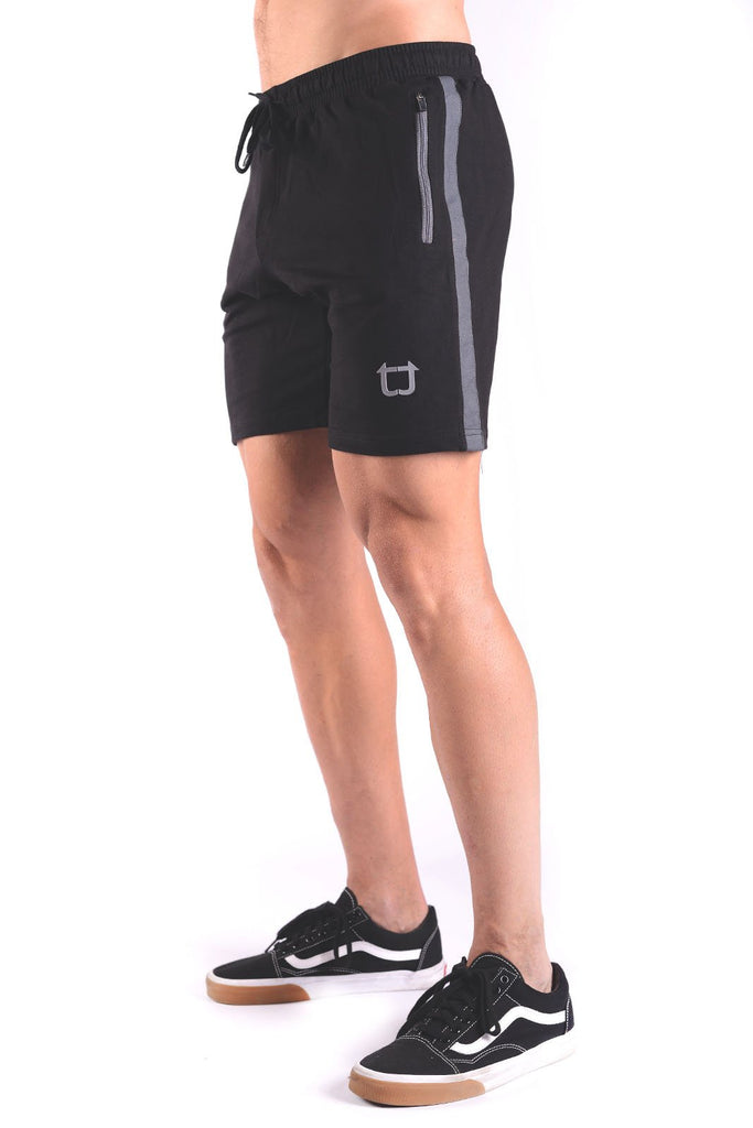 Twotags Rove Panel Sweat Shorts - Black