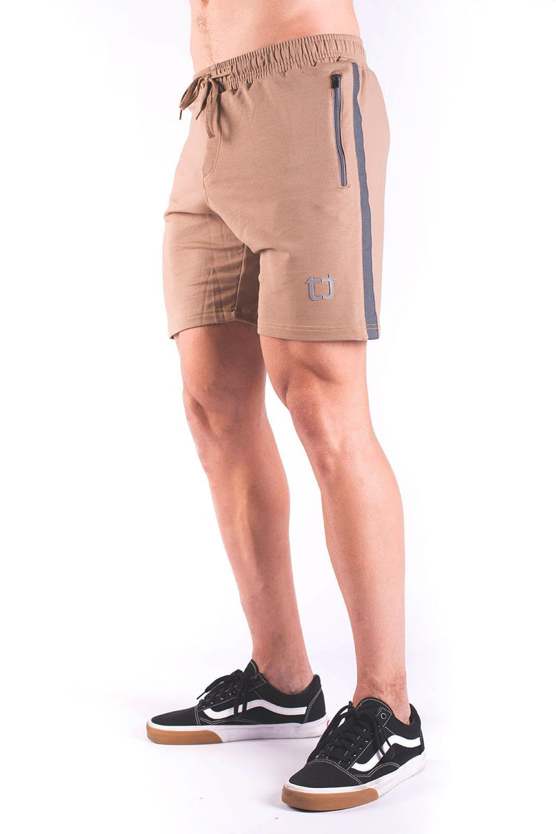 Twotags Rove Panel Sweat Shorts - Dark Tan