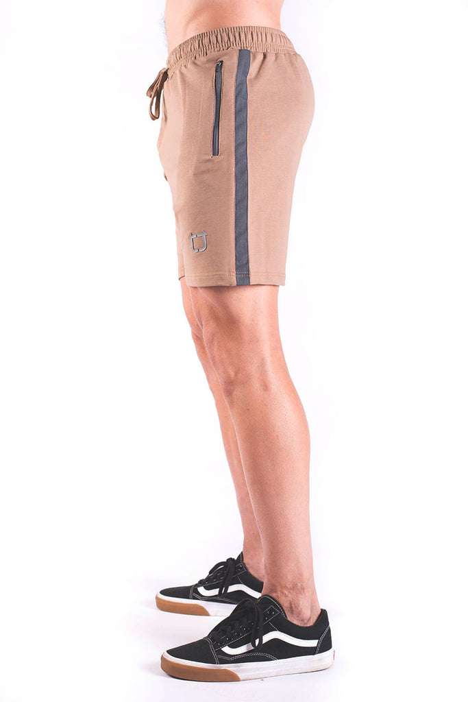 Rove Panel Sweat Shorts - Dark Tan