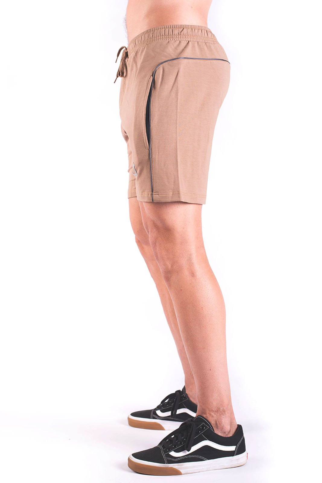 Twotags Rove Trim Sweat Shorts - Dark Tan