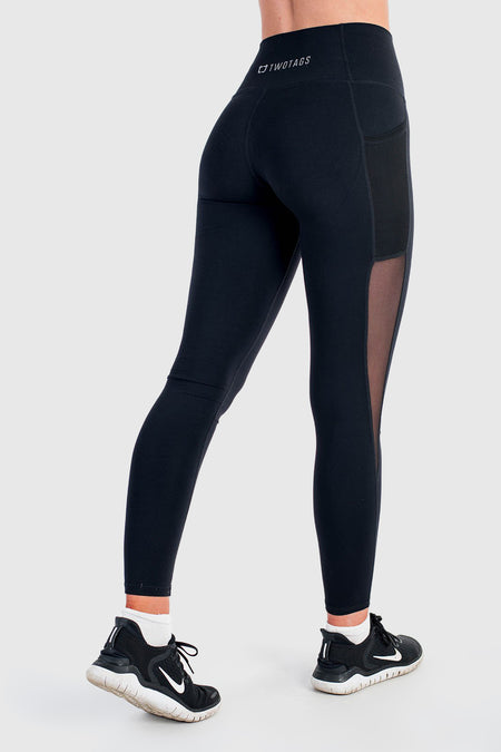 Twotags Ladies Highwaisted Sweetheart Leggings – Black