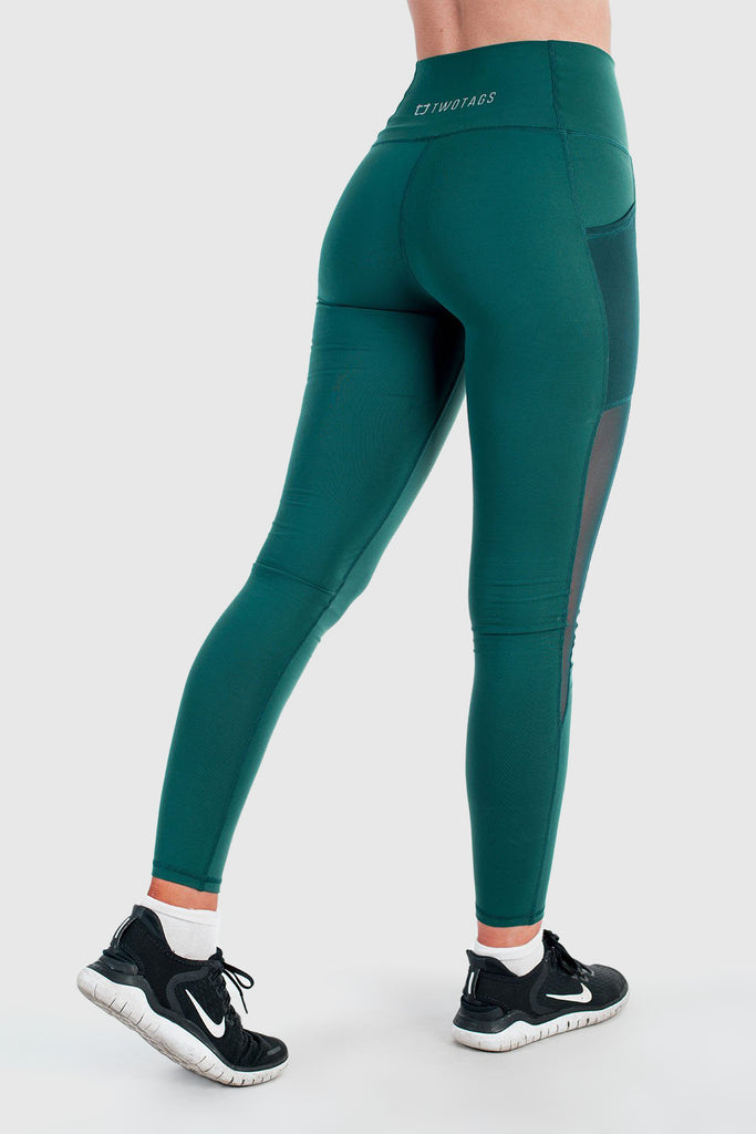 Twotags Ladies Highwaisted Stride Mesh Leggings – Emerald