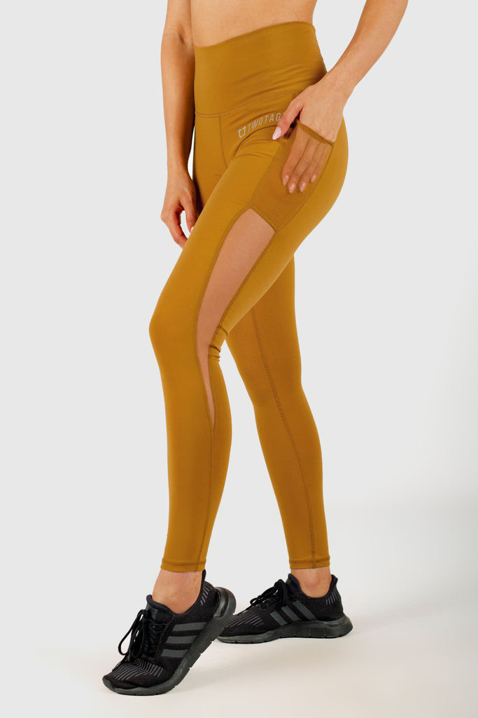 Twotags Ladies Highwaisted Stride Mesh Leggings – Mustard