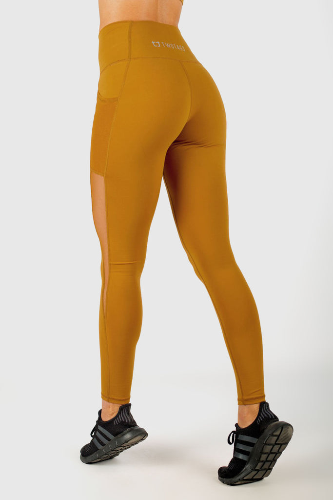 Stride Mesh Highwaisted Leggings - Mustard