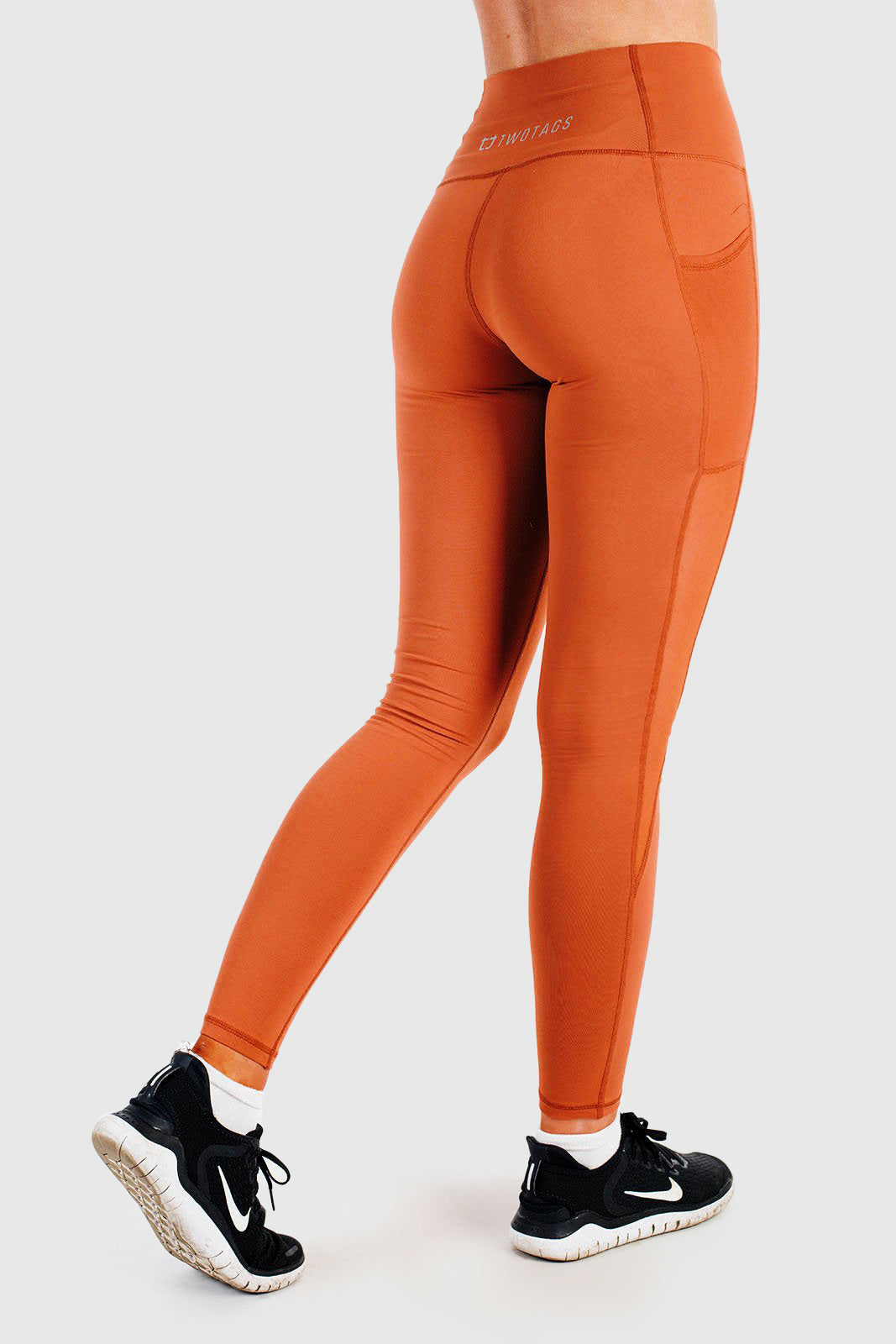 Twotags Ladies Highwaisted Stride Mesh Leggings – Rust