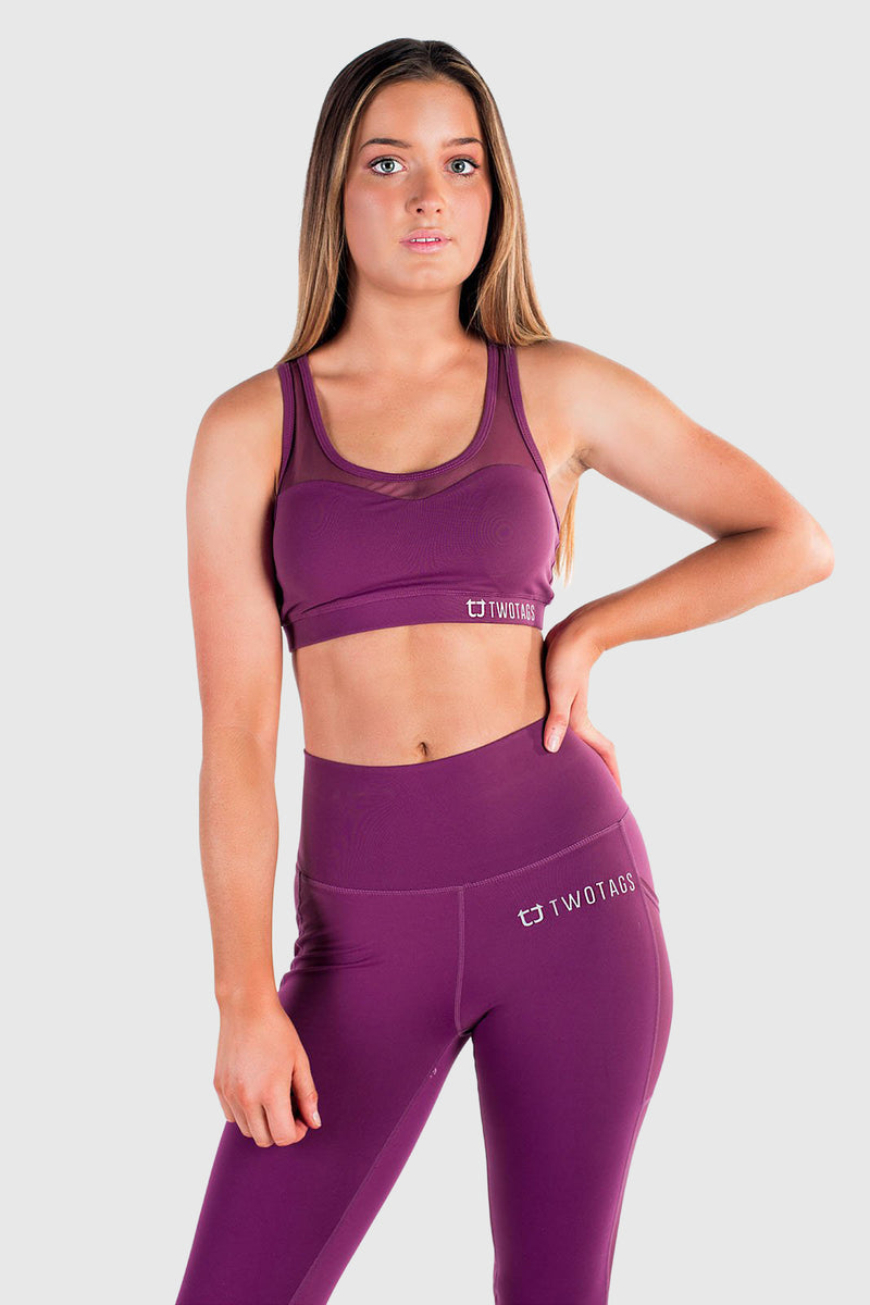 Stride Mesh Sports Bras - Aubergine
