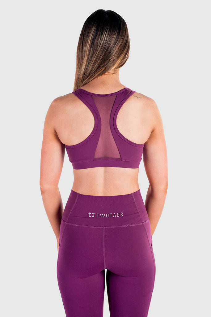 Twotags Ladies Stride Mesh Sports Bras – Aubergine