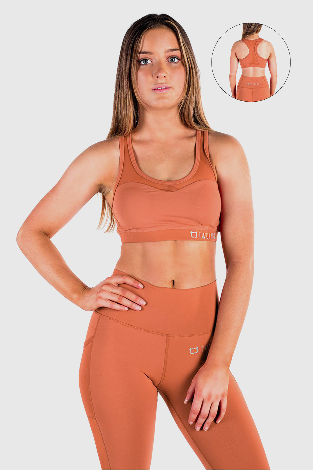Stride Mesh Sports Bras - Rust