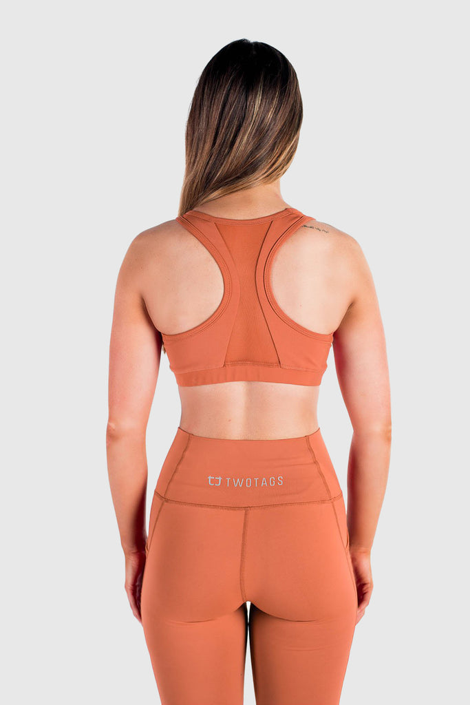 Twotags Ladies Stride Mesh Sports Bras – Rust