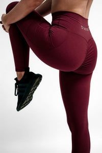 Scrunch Highwaisted Leggings - Burgundy