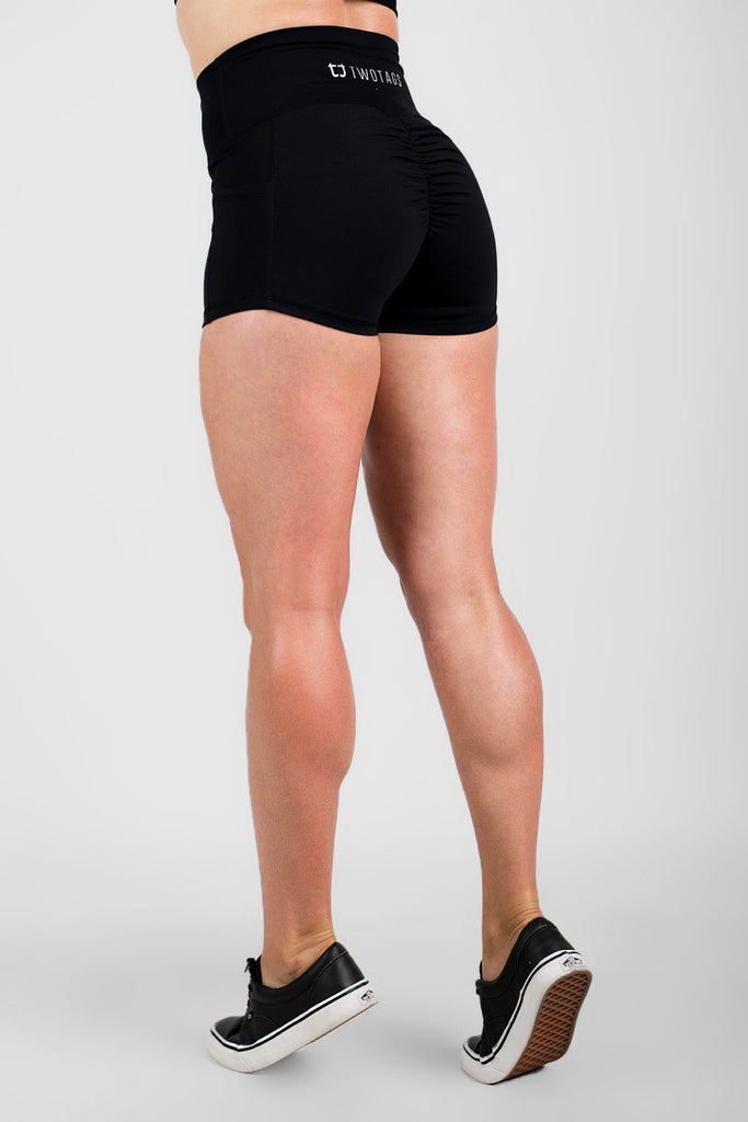 Twotags Ladies Highwaisted Scrunch Shorts – Black