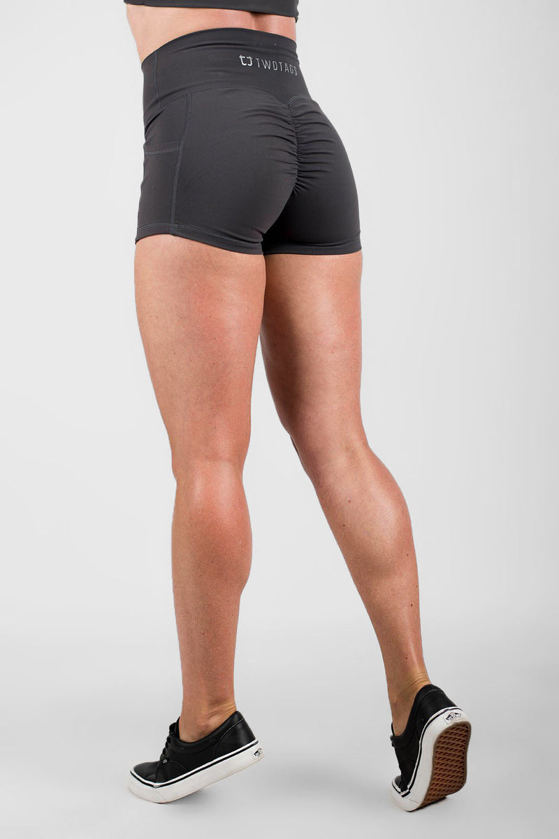 Twotags Ladies Highwaisted Scrunch Shorts – Charcoal Grey