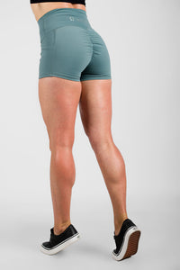 Twotags Ladies Highwaisted Scrunch Shorts – Teal