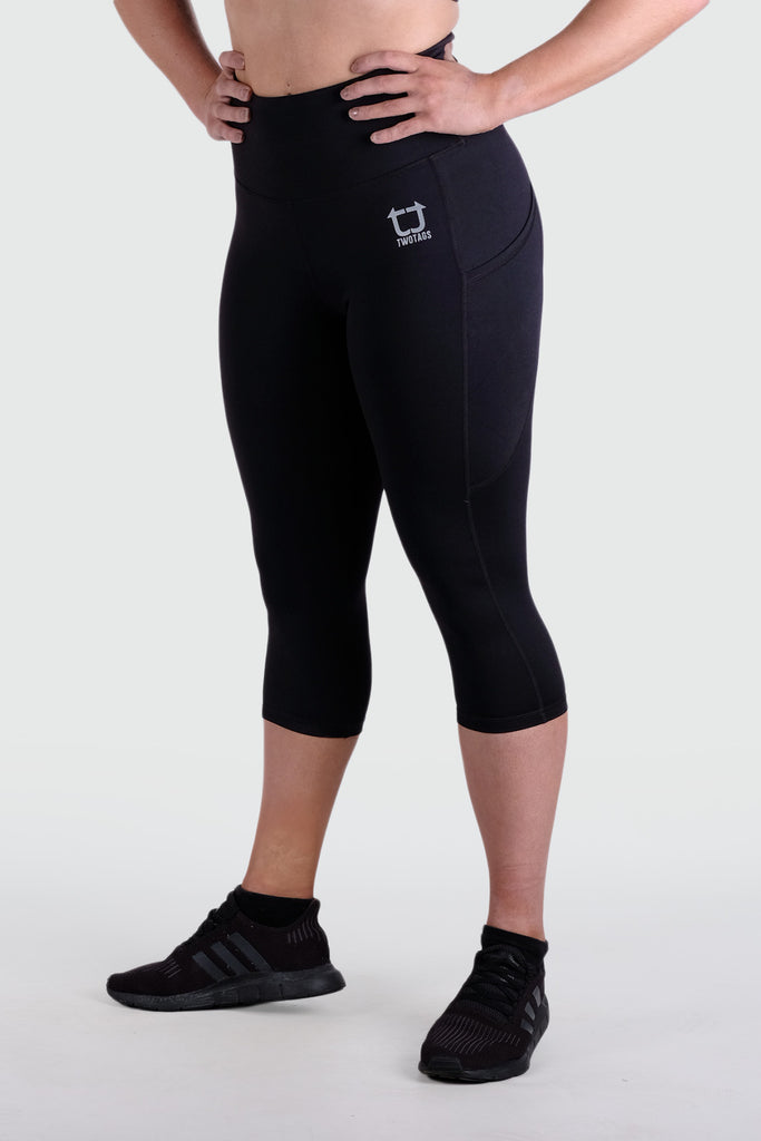 Strappy 3/4 V2 Highwaisted Leggings - Black