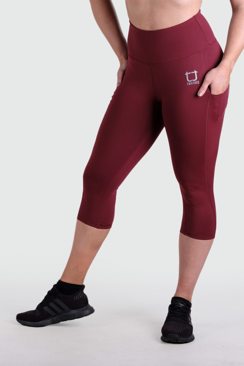 Strappy 3/4 V2 Highwaisted Leggings - Burgundy