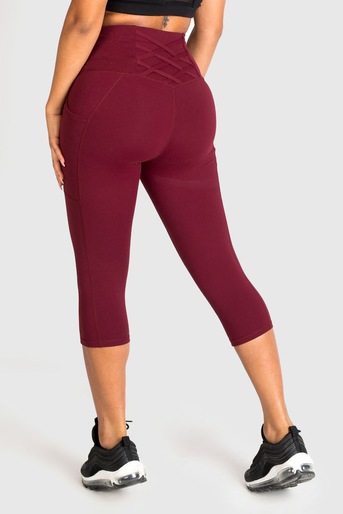 Twotags Ladies Highwaisted Strappy 3/4 Leggings – Burgundy