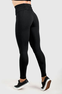 Twotags Ladies Highwaisted Strappy Leggings – Black