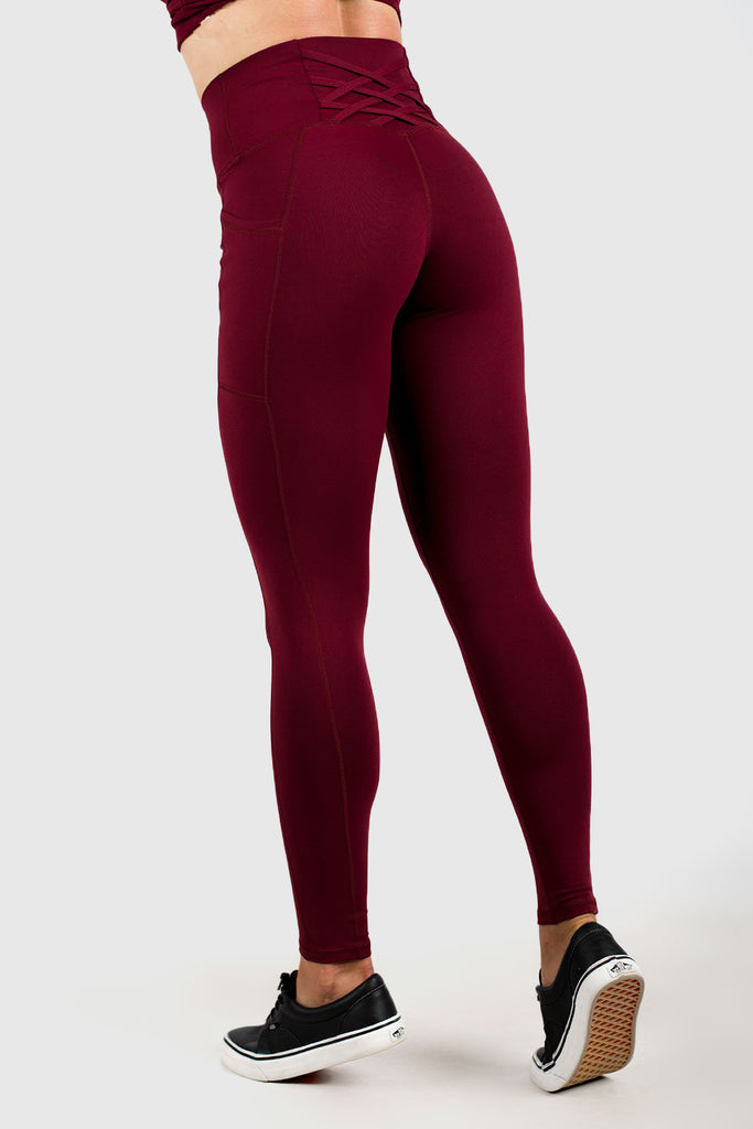 Twotags Ladies Highwaisted Strappy Leggings – Burgundy