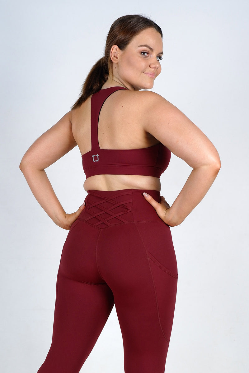Strappy Sports Bra -Burgundy
