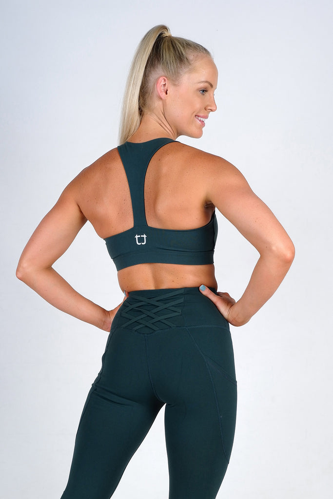 Strappy Sports Bras - Emerald