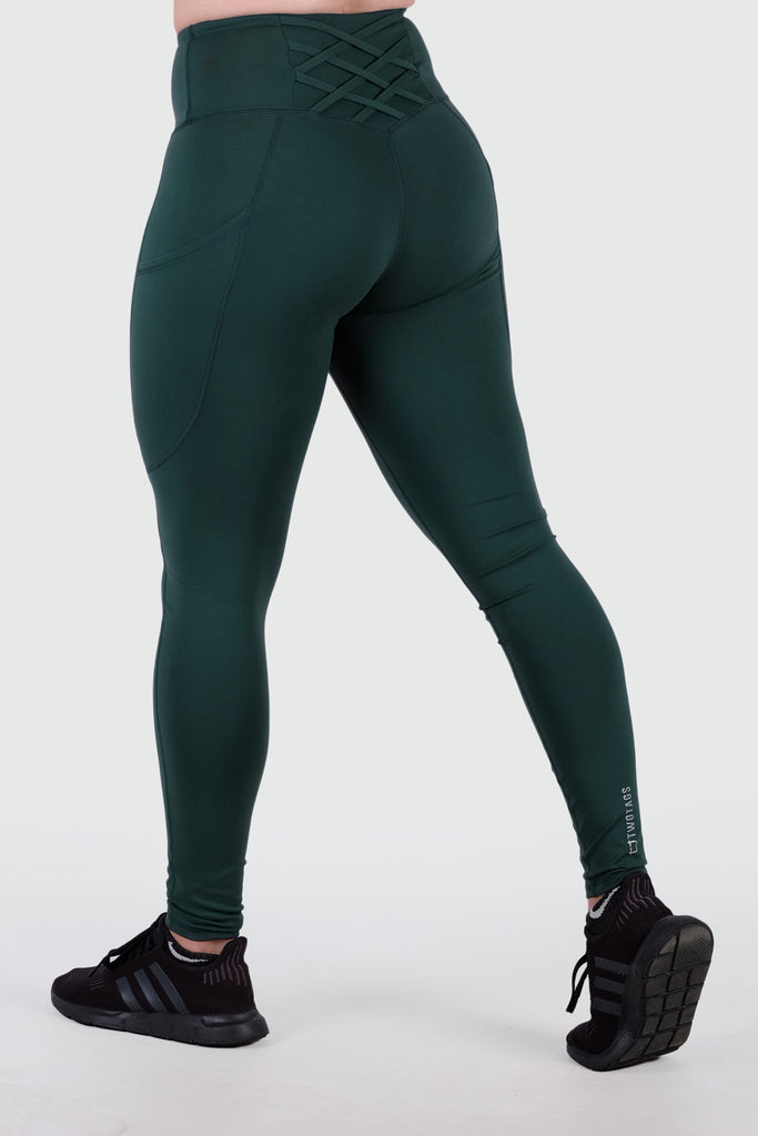 Strappy V2 Highwaisted Leggings - Emerald